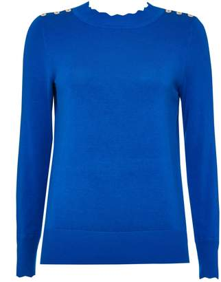 Wallis Petite Blue Scallop Neck Jumper