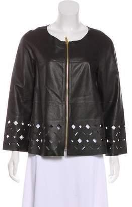 Lafayette 148 Leather Zip-Up Jacket