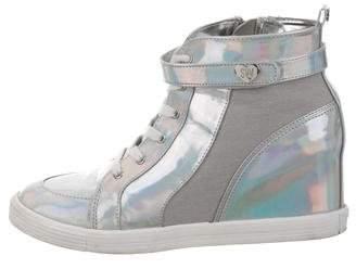 Stuart Weitzman Holographic Wedge Sneakers