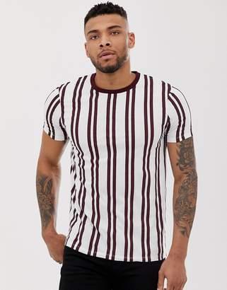 Asos Design DESIGN vertical stripe print t-shirt with contrast neck in burgundy stripe