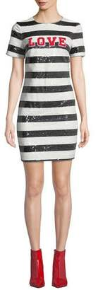 Aidan Mattox Striped Sequin Short-Sleeve Cocktail Dress with Love Applique