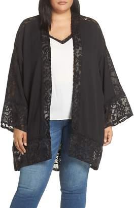 LOST INK Lace Trim Kimono