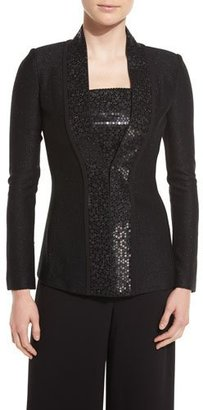 St. John Collection Shimmery Twill Knit Jacket, Caviar $1,495 thestylecure.com