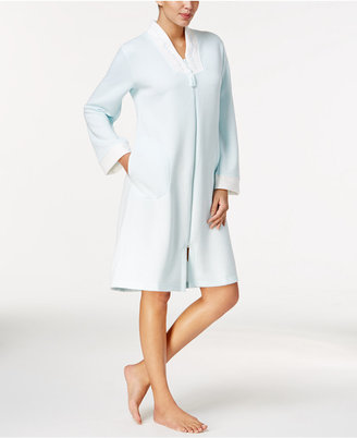 Miss Elaine Quilt-In-Knit Zip-Front Short Robe $78 thestylecure.com