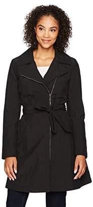 Lark & Ro Women's Asymmetrical Zip Front Raincoat