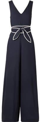 Diane von Furstenberg Belted Striped Stretch-crepe Jumpsuit - Midnight blue