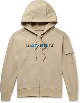 MAISON KITSUNÉ ADER error Oversized Logo-Print Cotton-Blend Jersey Zip-Up Hoodie - Men - Neutrals
