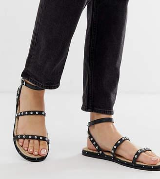 Asos Design DESIGN Wide Fit Juliette premium leather studded espadrilles