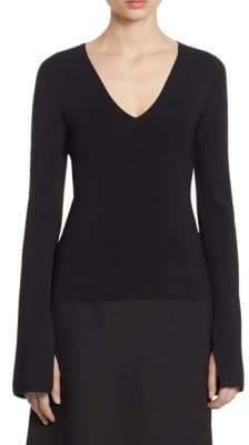SOLACE London Orlina Deep V-Neck Knit Slit Sleeve Top