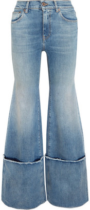 Off-White - Frayed Mid-rise Wide-leg Jeans - Mid denim $645 thestylecure.com