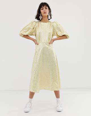 Asos metallic gingham midi dress