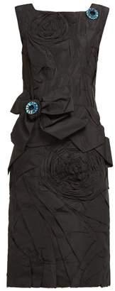 Calvin Klein Bow Applique Silk Taffeta Dress - Womens - Black