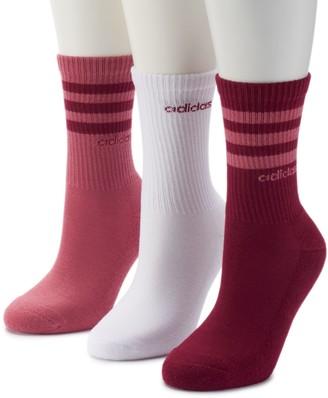 adidas Women's 3-Pack climalite Striped Crew Socks
