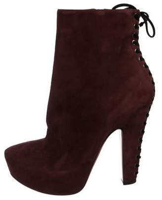 Alaia Suede Lace-Up Ankle Boot