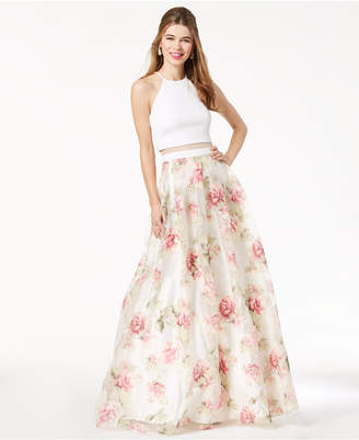 B. Darlin Juniors' Printed Illusion Gown, Created for Macy's