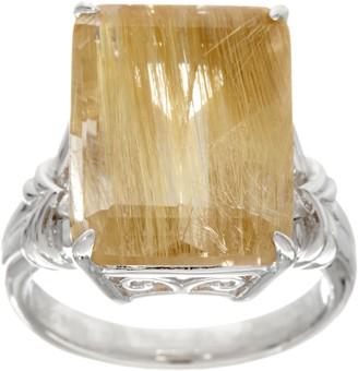 Emerald Cut Rutilated Quartz Sterling Silver Ring, 9.00 ct