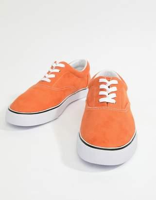 Asos DESIGN oxford plimsolls in orange faux suede
