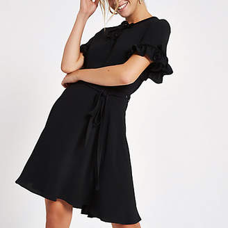 River Island Womens Black velvet bow mini dress