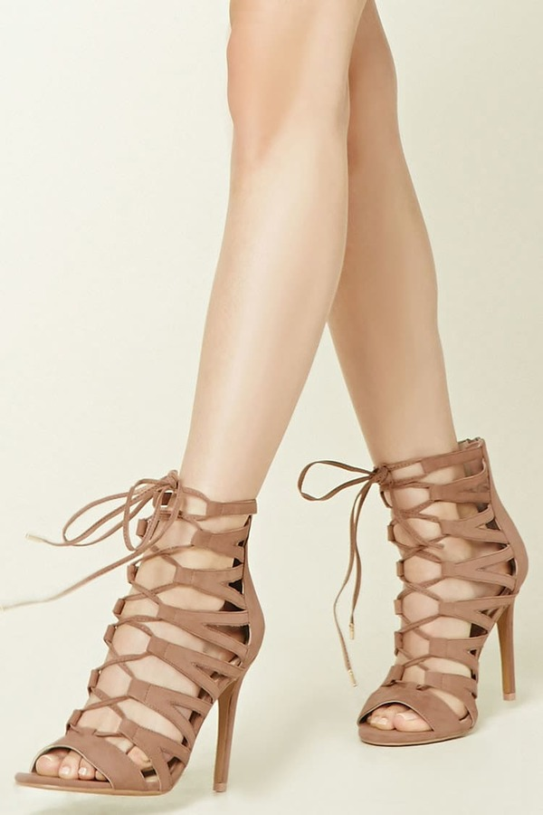 FOREVER 21+ Caged Lace-Up Stilettos