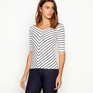 J by Jasper Conran Ivory Striped V-Neck Top