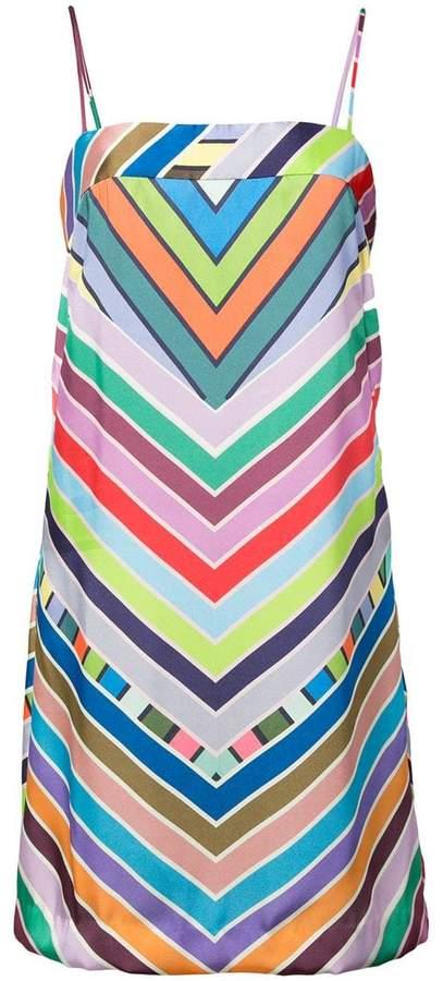 rainbow chevron striped mini dress