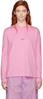 MSGM Pink Long Sleeve Mini Logo T-Shirt