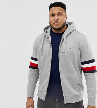 Tommy Hilfiger Big & Tall Icon Logo and Sleeve Stripe Full Zip Hoodie Relaxed Fit in Grey Marl