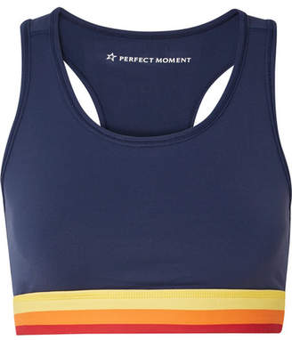 Perfect Moment - Cutout Striped Stretch Sports Bra - Navy