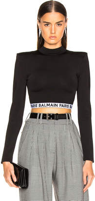 Balmain Logo Band Crop Top