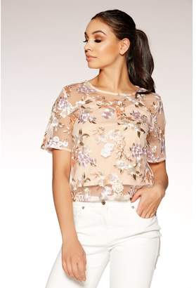 Quiz Nude And Lilac Floral Embellished Top