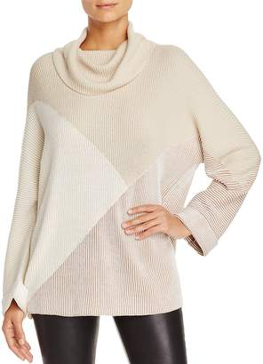 Nic+Zoe Angled Color Block Turtleneck Sweater
