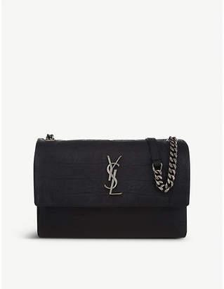 Saint Laurent West Hollywood monogram crocodile-embossed leather shoulder bag