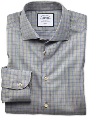 Charles Tyrwhitt Slim Fit Business Casual Non-Iron Grey Windowpane Check Cotton Dress Shirt Single Cuff Size 15/32