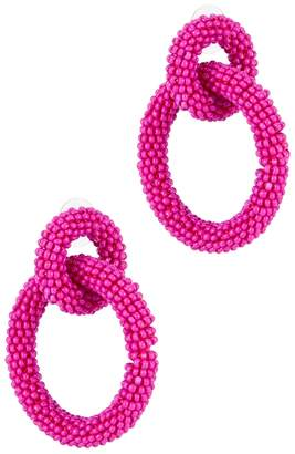 BaubleBar Emma Fuschia Beaded Hoop Earrings