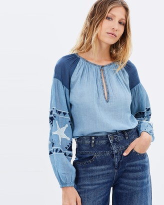 Maison Scotch Embroidered Cotton Peasant Top