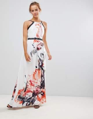 Little Mistress Border Print Maxi Dress