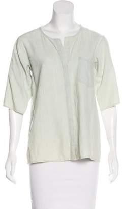 Frame Scoop Neck Linen-Blend Top
