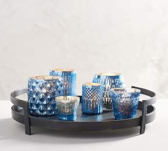 Pottery Barn Eclectic Mercury Votive Holders, Blue - Set of 6