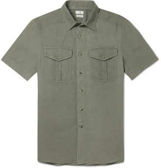 Brunello Cucinelli Slim-Fit Linen and Cotton-Blend Shirt - Men - Green