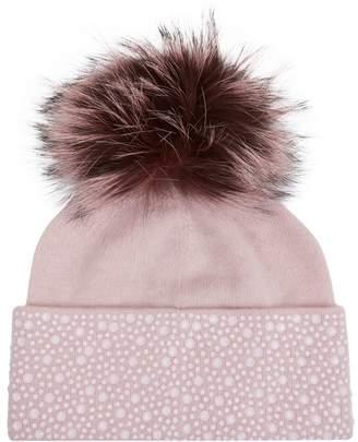 William Sharp Fur and Crystal Pompom Hat