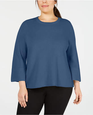 Eileen Fisher Plus Size Merino Wool 3/4-Sleeve Flared Sweater