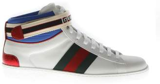 Gucci Stripe Ace High-top White Leather Sneakers