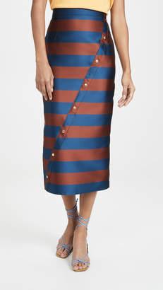 Stella Jean Striped Asymmetrical Midi Skirt