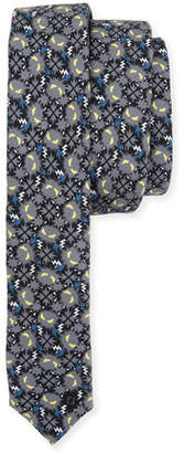 Fendi Little Monsters Skinny Tie, Blue/Gray $200 thestylecure.com