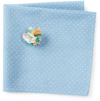 Original Penguin Blue Dot Pocket Square and Lapel Pin Set $45 thestylecure.com