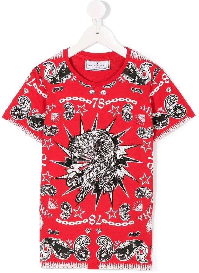 Philipp Plein Junior T-Shirt mit verziertem Print