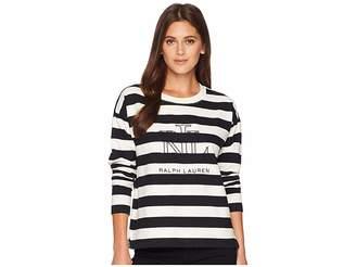 Lauren Ralph Lauren Logo Striped Terry T-Shirt