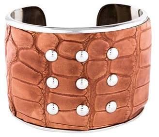 Tod's Alligator Embossed Leather Bracelet
