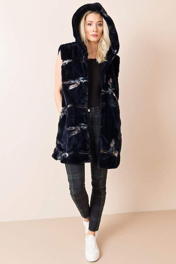 Pia Embroidered Faux-Fur Vest