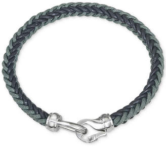 Macy's Esquire Men's Jewelry Woven Leather Bracelet in Stainless Steel, Created for